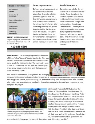 HPS Newsletter Back Page